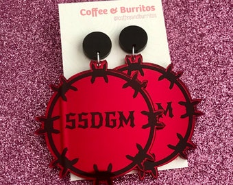 SSDGM ~ Barbed Wire Red Mirror and Black Acrylic Dangle Earrings