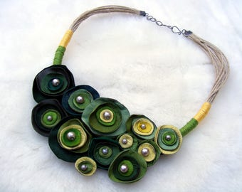 Shades of Green Leather Necklace