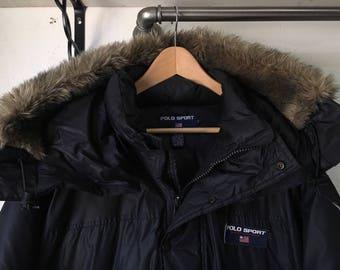 Vintage Polo Sport winter coat goose down jacket XL detachable hood Ralph Lauren