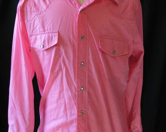 Bright Pink Vintage Malco Modes Western Shirt, Square Dance Shirt, Flamingo pink, Small-   medium