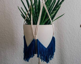 Macrame Plant Hanger ~ Deep Blue ~ 100% Cotton