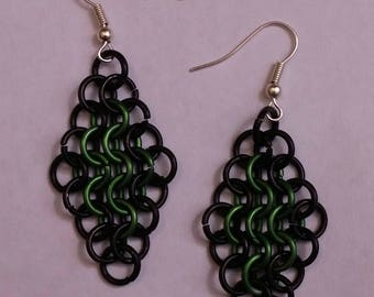 Chainmail earrings European 4-in-1 two color
