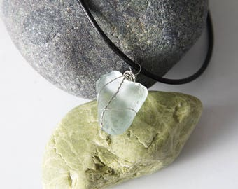 Sea glass wired pendant. Sea glass pendant