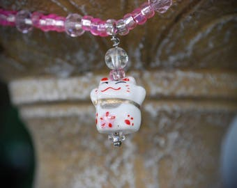 """Lucky cat beaded 16"""" necklace with extender chain, kid made and designed."""