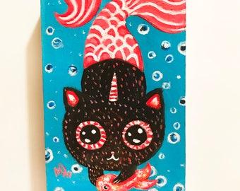 Black Mer kitty corn original painting