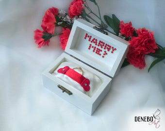 Engagement ring box jewelry box engagement ring holder white ring box ready to ship marry me box white red ring box wooden box love box gift