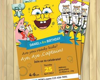 SpongeBob invitations, Personalized, birthday invitations - Digital files