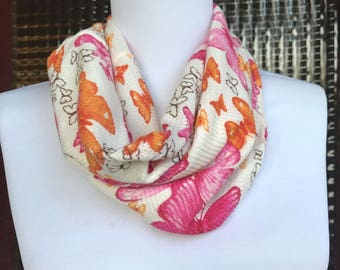 """Butterfly print cowl or loop scarf, waffle texture, 11 x 15"""""""