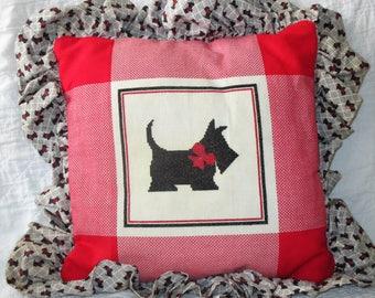 Cross Stitch Scottie Terrier Pillow
