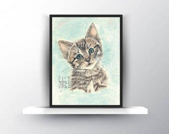 digital download, print, kitten, baby, birth, office, pastel wall decor, instant download, image