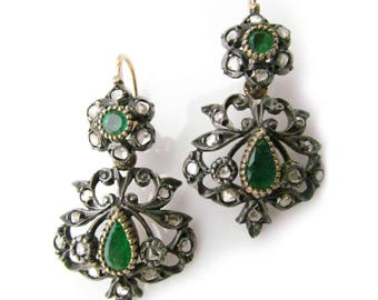 14K Vintage Day and Night Earrings with Emeralds and Rose Cut Diamonds
