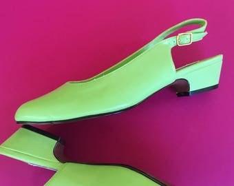 Vintage 90s BFA Classics Sorbet Green Sling-Back Heels
