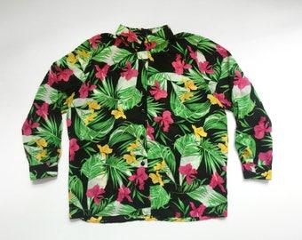 90s Tropical Pattern Long Sleeve Sheer Blouse