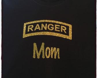 Long Sleeve Black Army RANGER Tshirt in Gold Glitter