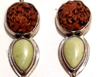Sterling Silver, Gaspeite, Carved Wood Posts