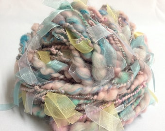 Hand spun art yarn Bulky yarn Chunky yarn Merino wool yarn in pink blue mint Laced yarn Weaving yarn 2oz (56g)