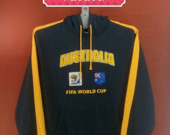 Vintage Australian Fifa World Cup Hoodie Sweatshirt Spellout Sweater Blue Black Colour Size L Hip Hop Nike Sweatshirt Adidas Sweatshirt