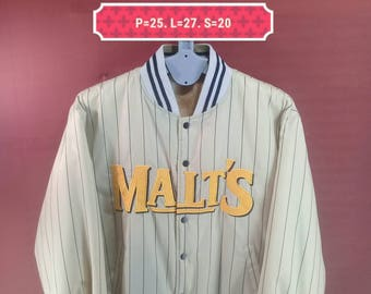 Vintage Malts Reversible Down Jacket Windbreaker Baseball Club Sweater Spellout Puffer Stripes Gold Colour Shirt Size L Malts Beer Shirt