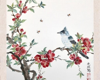 Red Plum Blossom with Bird II