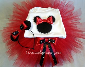 Personalized red minnie mouse 1st birthday outfit, red minnie birthday outfit, red first birthday minnie mouse