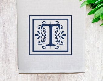 Personalised Monogram Pure Linen Tea Towel [Off White]