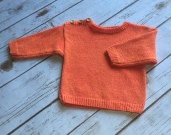 Knitted  100% italian cashmere baby sweater 12m