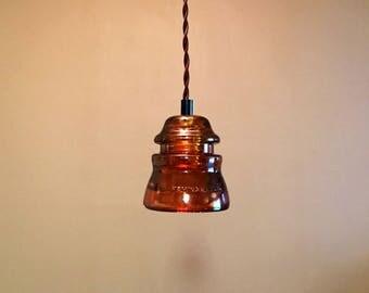 2 Amber Stained Hemingray 45 Glass Insulator Pendant Lights