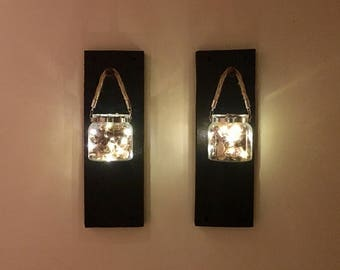 19th Century Reclaimed Rustic Barnwood Led Sconce Lights