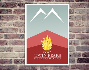 Minimalist poster. Twin Peaks poster. Twin Peaks minimalist poster. Movie poster. Fire walk with me.