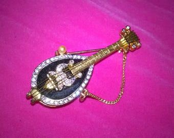 vintage mandolin brooch