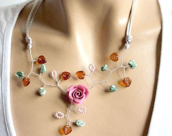 Pink flower copper wire necklace