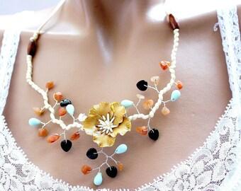 Summer evening necklace catcus cold porcelain flower