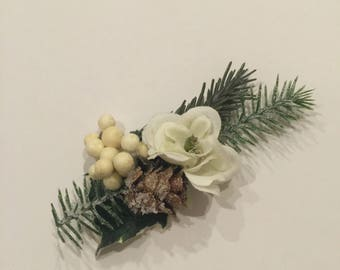 Christmas floral piece white flowers with evergreen and pine cone clip or headband