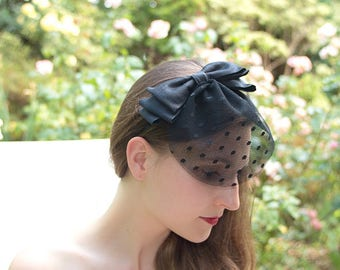 Fascinator black bow - black veil
