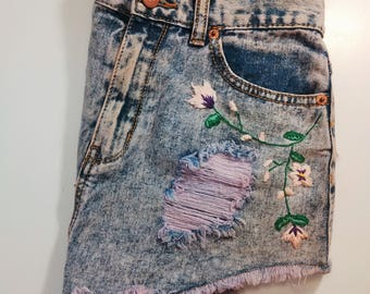 Hand Embroidered Purple High Waist Shorts
