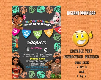 Moana invitation,Moana,Moana birthday,Moana invites,PDF editable invitation,Moana party,Moana invitations,invitations