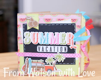 Summer Vacation - 6x6 Mini Scrapbook Paperbag Album Handmade Custom