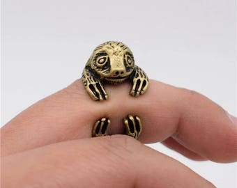 Sloth Ring-Mother Jewelry/Minimalist Ring/Best Friends Gift/Sister Gift/Bridesmaid Gift/Animal Ring/Retro Ring/3D Sloth Ring
