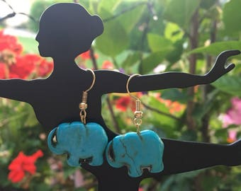 Turquoise Elephant Drop Earrings with Gold