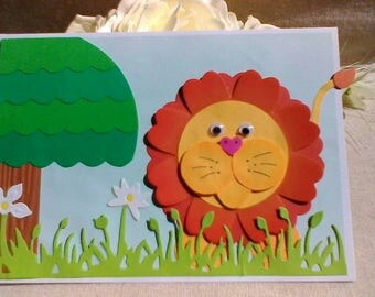Fun kids children's card with cute lion. Ideal for any occasion such as birthday, get well etc. Cartoon style picture