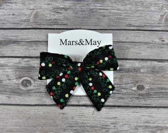 Hand tied hair bow, Christmas bow, Large hair bow