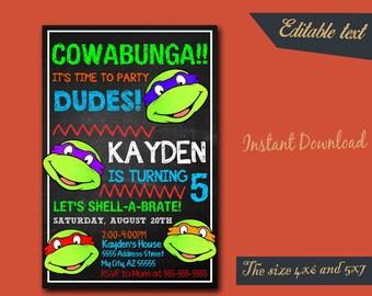 Ninja Turtle Invitation / Ninja Turtle Editable Invitation / Ninja Turtle Birthday / Ninja Turtle Birthday Invitation / Ninja Party-003