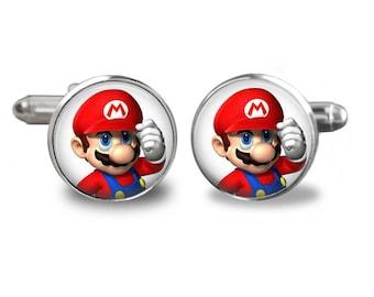 Super Mario cufflinks Nintendo cufflinks gamer cufflinks super mario gift mens cufflinks glass cufflinks silver cufflinks