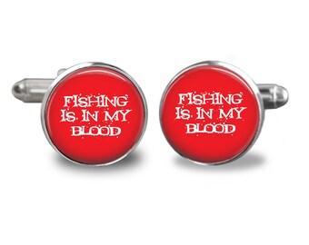 Fishing is in my blood cufflinks fishing cufflinks fisherman cufflinks fish mens cufflinks glass cufflink silver cufflinks mens cuff links
