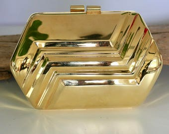 Gorgeous Gold Clamshell Clutch