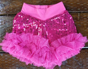 Baby/toddler/big girls - cute and comfortable SEQUINS RUFFLE SHORTS - fuchsia/hot pink