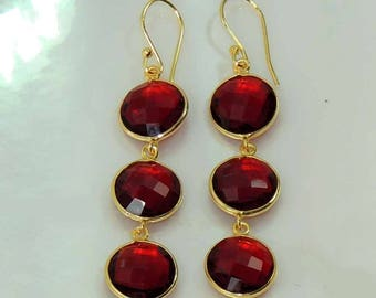 carenelian 22k gold plated 925 sterling silver hanging earring
