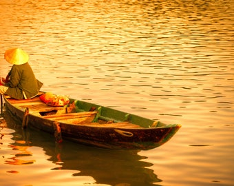 Vietnam Sunset - Photography Fine Art Print, Wall Picture, Hoi An, Living Room Print, Golden, Sunset Print, Nautical Theme, Travel photo
