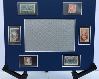 France 8x10 photo mat frame featuring vintage French postage stamps