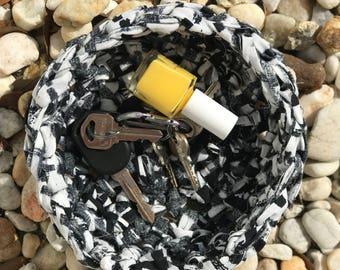 Black/White Crocheted Rag Bowl